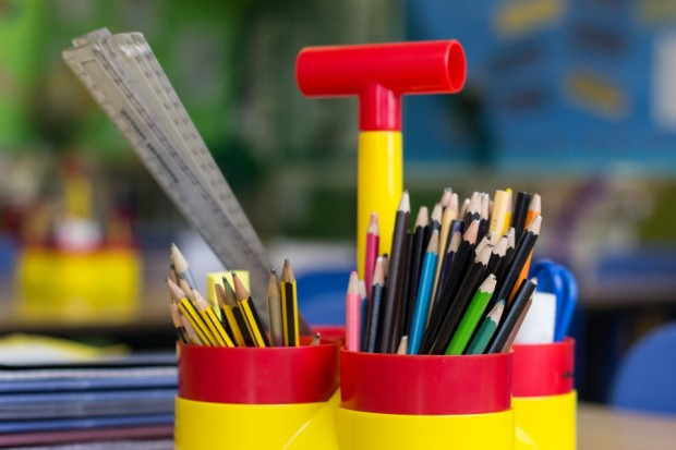 Pencils and pens in pots