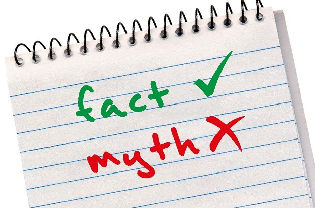 Notebook showing facts and myths