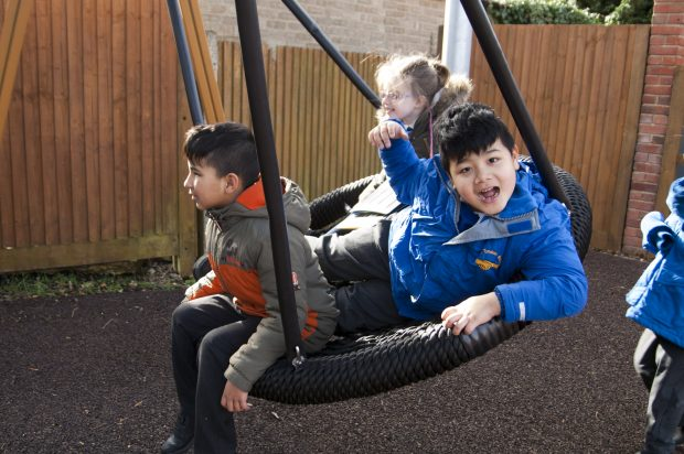 Children playing on a tyre swing