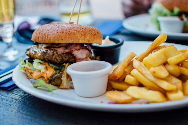 A plate holding a burger and fries.
